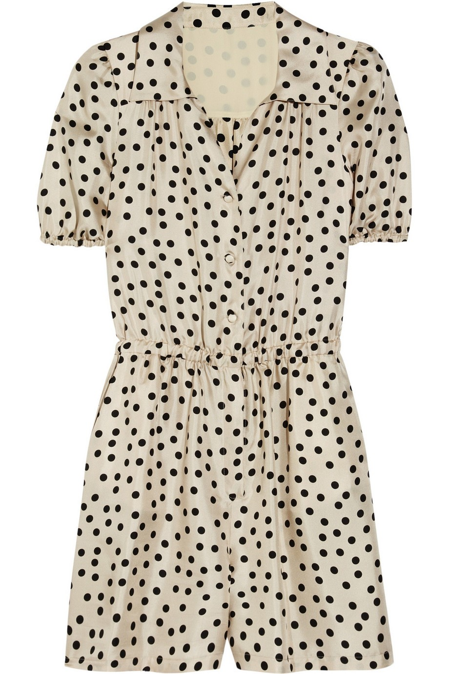 Polka-dot silk playsuit