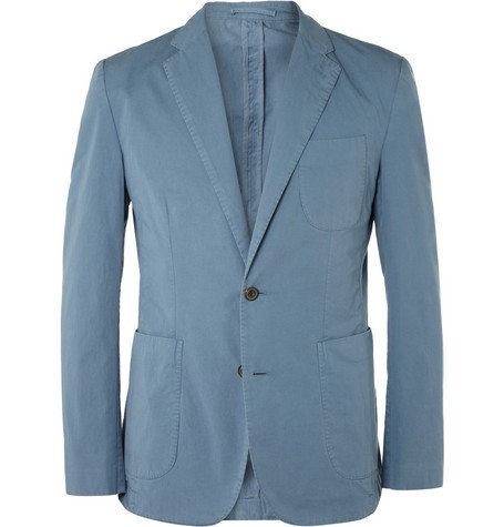 Unstructured Washed Cotton-Twill Blazer