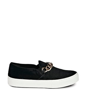 ALDO Daigh Black Chain Detail Slip On Sneakers