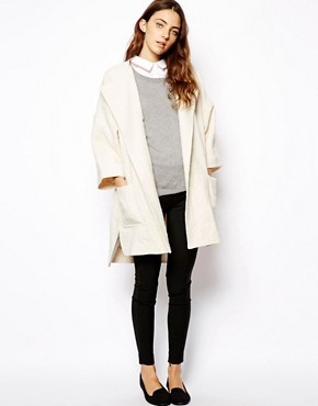 ASOS Coat in Trapeze with Stepped Hem