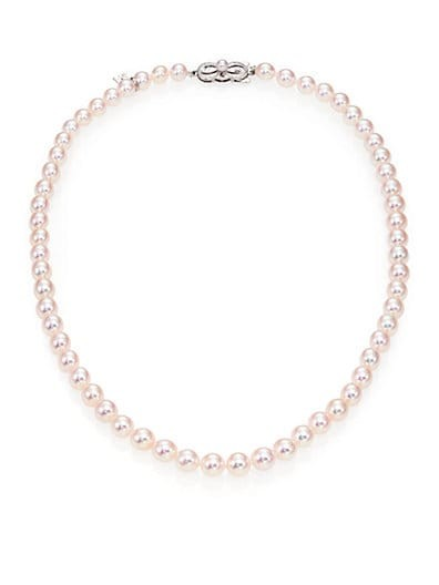6MM-7MM White Akoya Pearl & 18K White Gold Strand Necklace/17