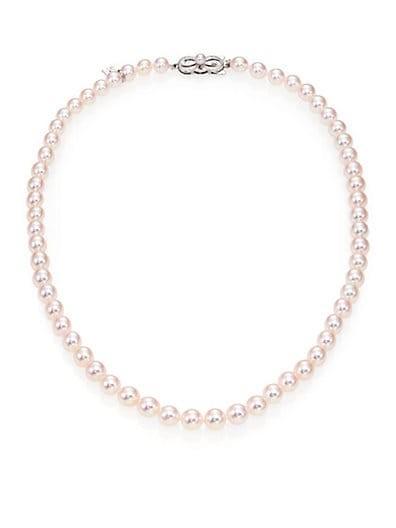 6MM-7MM White Akoya Pearl & 18K White Gold Strand Necklace/17