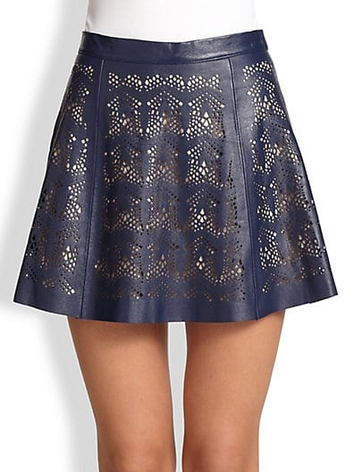 Filomena Laser-Cut Leather Skirt