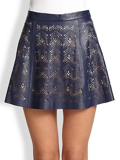Filomena Laser-Cut Leather Skirt