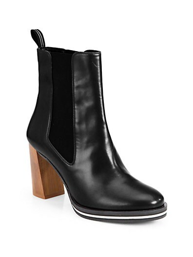 Pull-On Faux Leather Ankle Boots