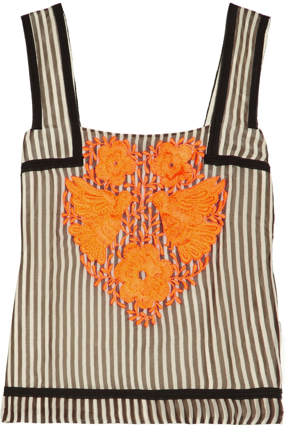 Embroidered striped chiffon top