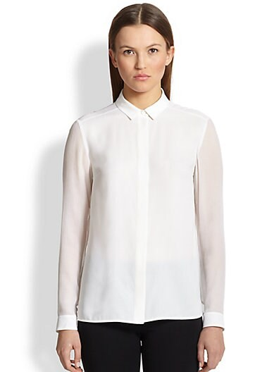 Sheer-Sleeve Silk Blouse