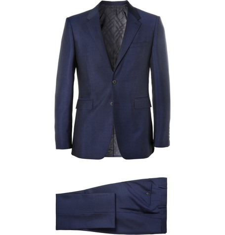 Blue Wool and Mohair-Blend Suit