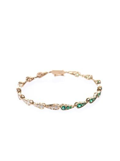 White diamond, emerald & gold bracelet