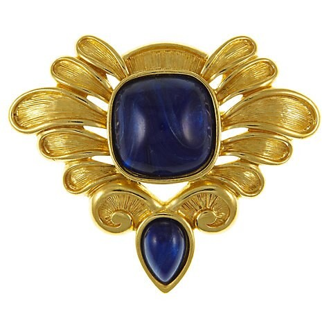 Eclectica 1980s Trifari Gold Plated Cabochon Brooch, Gold / Blue