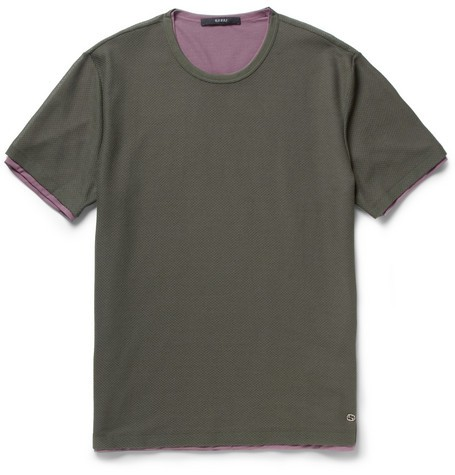 Double-Layered Mesh and Crepe T-Shirt