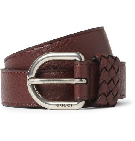 Burgundy 2.5cm Textured-Leather Belt