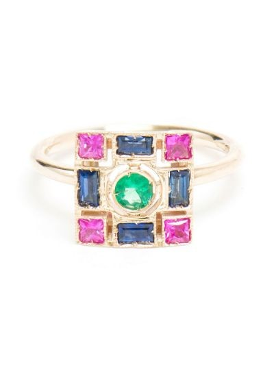 18K White Gold, Emerald and Sapphire Square Ring
