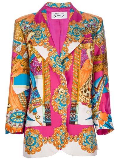 printed silk blazer