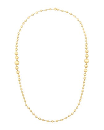 Africa 18k Brushed Gold-Bead Necklace, 36