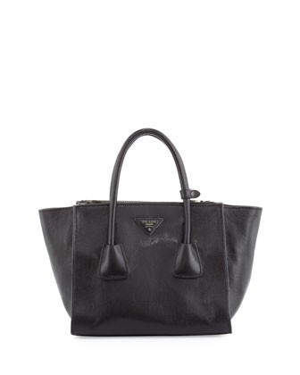 Glace Calf Small Twin-Pocket Tote Bag, Black (Nero)