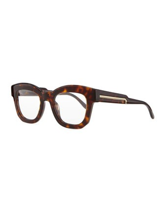Thick Square Acetate Fashion Glasses, Dark Tortoise - Stella McCartney