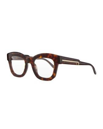 Thick Square Acetate Fashion Glasses, Dark Tortoise - Stella McCartney