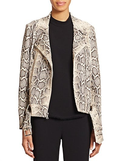 Corlyn Python-Print Leather Jacket