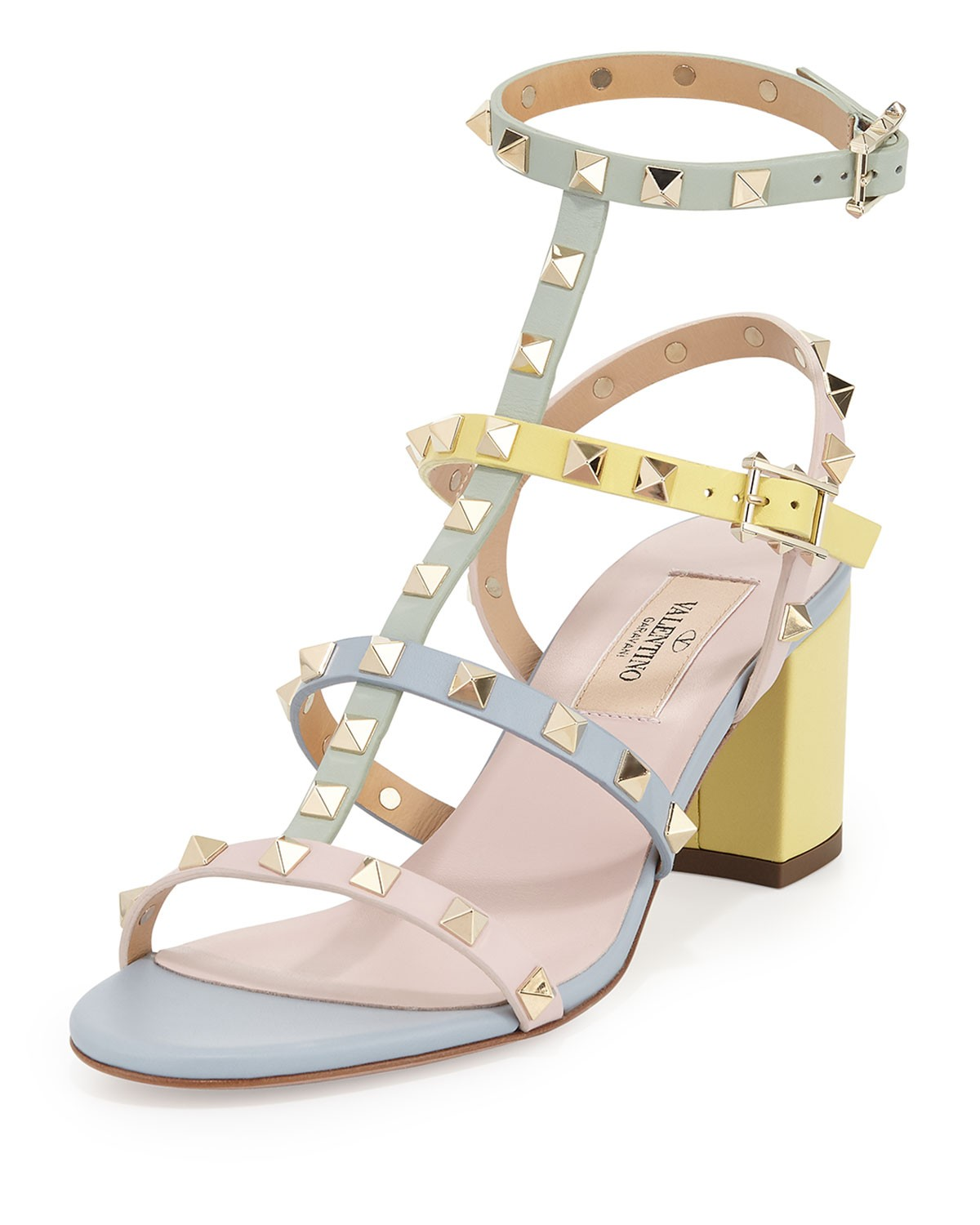 Rockstud Leather City Sandal, Watercolor - Valentino - Watercolor (35.0B/5.0B)