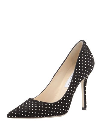 Jimmy Choo Abel Studded Suede Pointed Toe Pump, Black