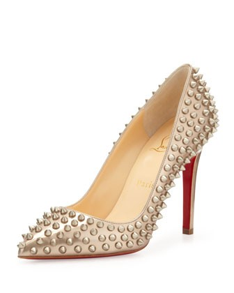 Pigalle Spikes Red Sole Pump, Beige/Gold - Christian Louboutin