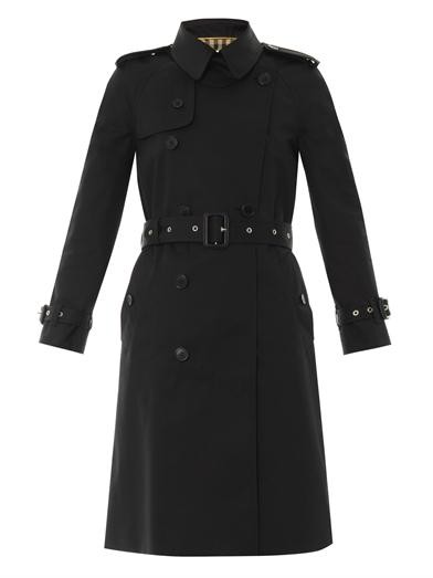 Technical gabardine trench coat