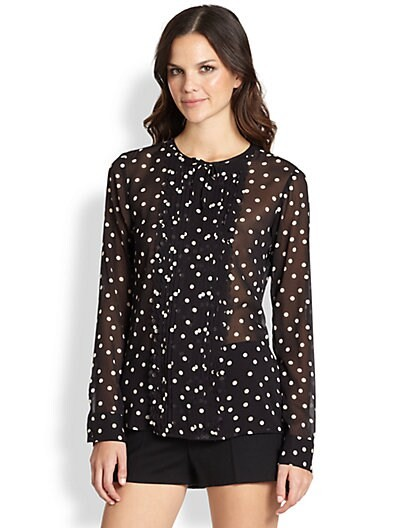 Silk Long-Sleeve Polka Dot Blouse