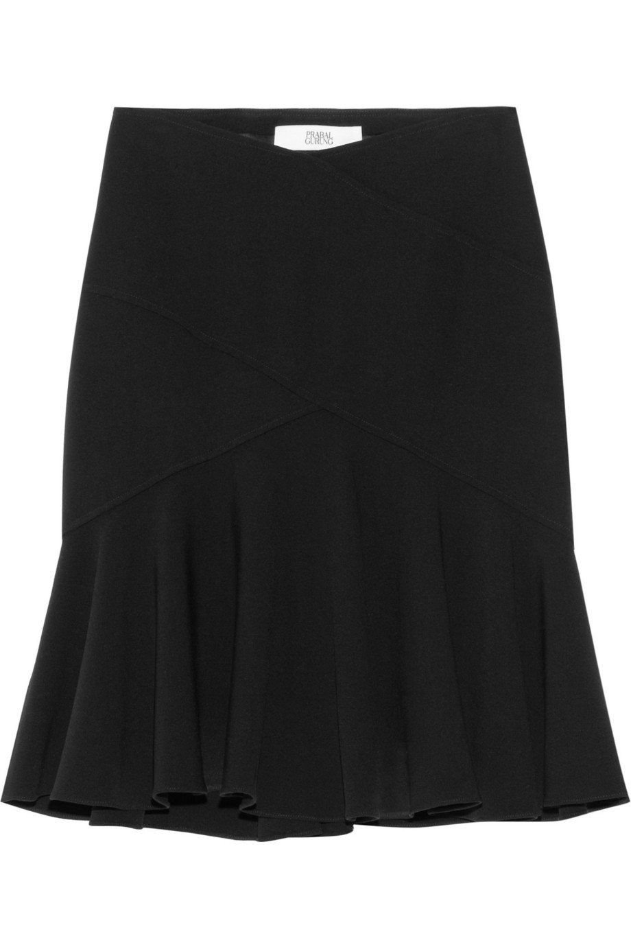 Ruffled stretch-wool skirt