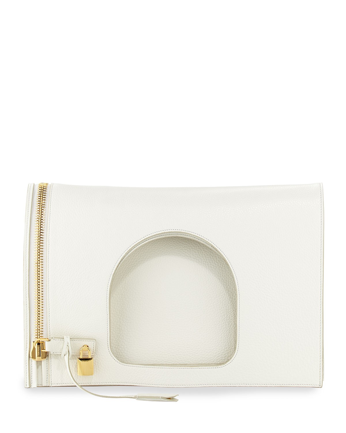 Alix Leather Padlock & Zip Shoulder Bag, White - Tom Ford