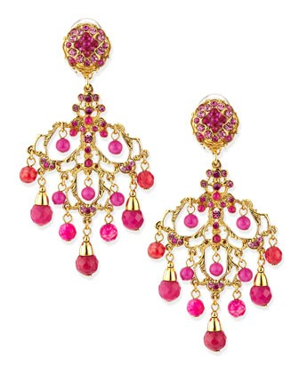 Pink Chandelier Drop Earrings - Jose & Maria Barrera