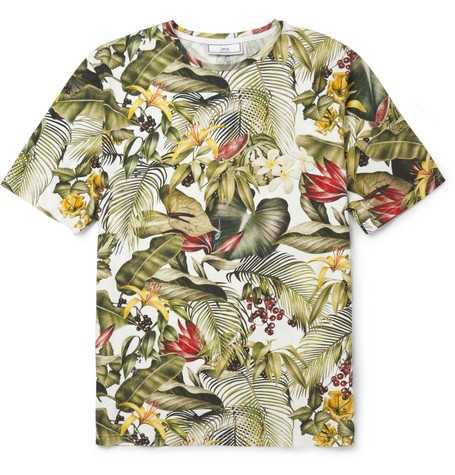 Botanical-Print Cotton-Jersey T-Shirt