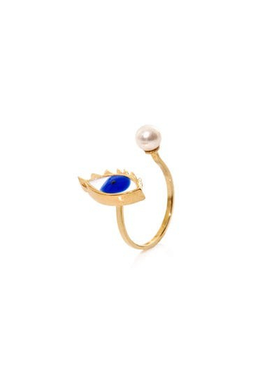 Gold, pearl and enamel eye ring