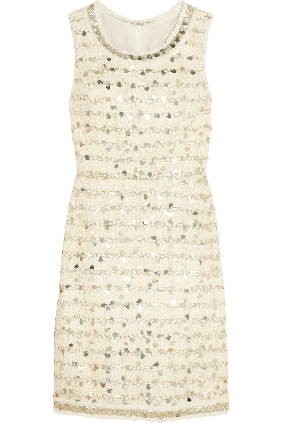 Embellished cotton-blend tweed dress