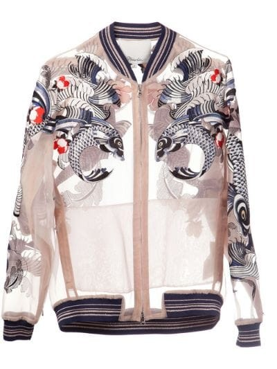 tattoo embroidered organza jacket
