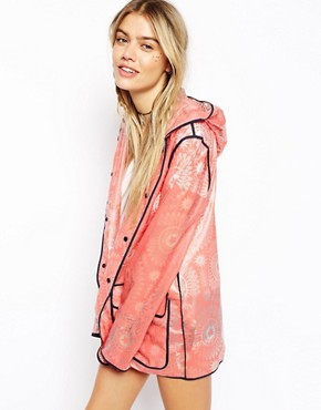 ASOS Rain Trench With Henna Print