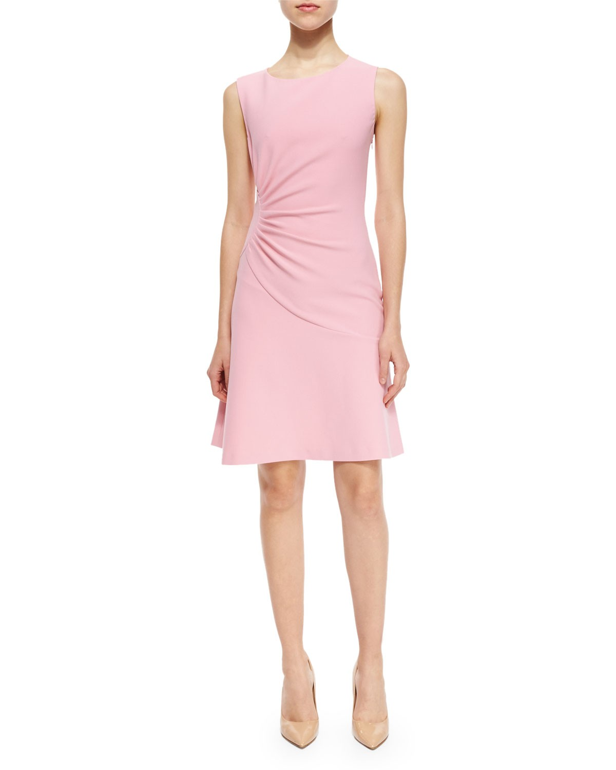 Dayna Ruched Fit-and-Flare Dress, Pink Ice, Size: 0, PINK - Diane von Furstenberg