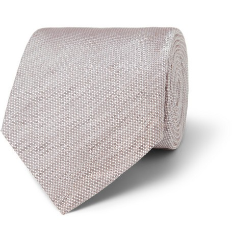 Woven Cotton and Silk-Blend Tie
