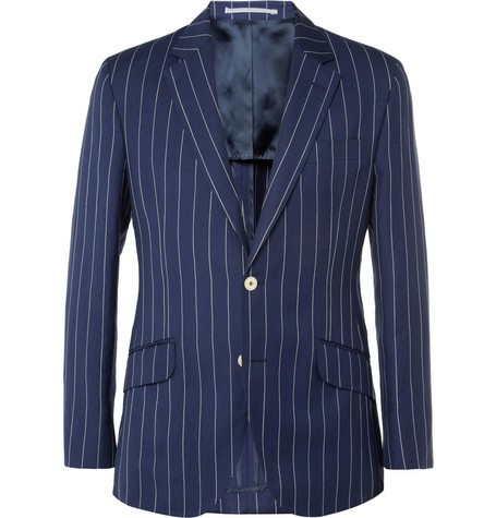 Slim-Fit Striped Linen and Wool-Blend Blazer