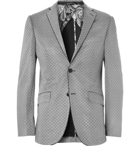 Patterned Cotton-Blend Jersey Blazer