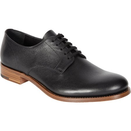Antiqued Saffiano Five-Eye Plain Toe Blucher