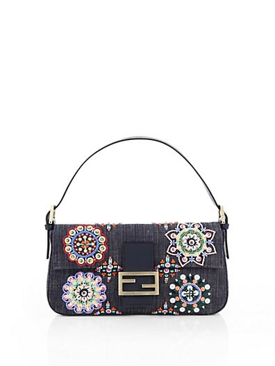 Beaded Denim Baguette Shoulder Bag