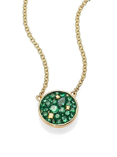 Tsavorite, Diamond & 18K Yellow Gold Verde Disc Pendant Necklace