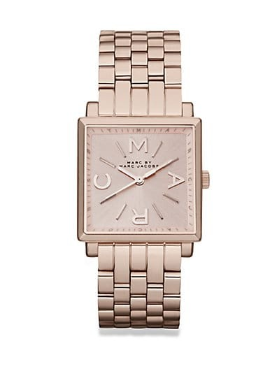 Rose Goldtone Stainless Steel Square Watch