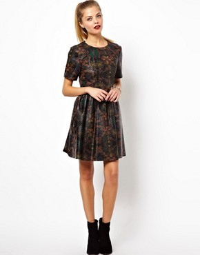 ASOS Printed Leather Skater Dress
