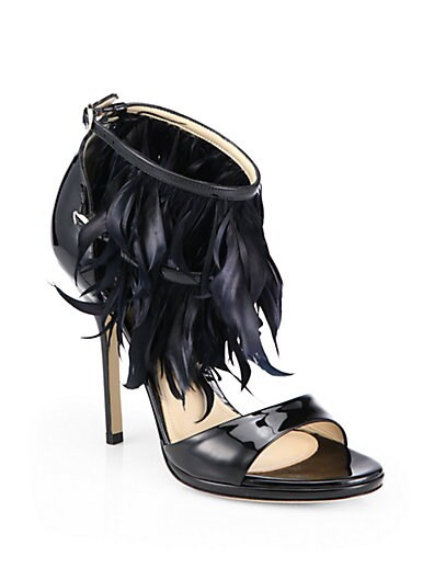 Amazon Feather-Trimmed Patent Leather Sandals