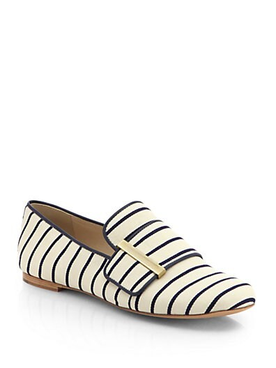 Striped Canvas Slip-On Loafers