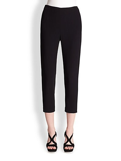 High-Waisted Crepe Skinny Pants
