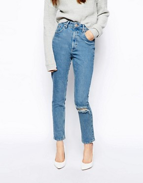 ASOS Farleigh High Waist Slim Mom Jeans in Rosebowl Mid Wash Blue with Ripped Knee