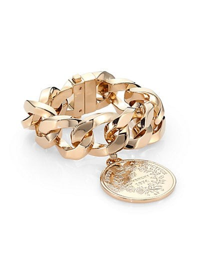 Medallion Curb Chain Bracelet/Goldtone